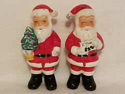 Vintage Santa Claus Salt And Pepper Shakers Set Old Collectible