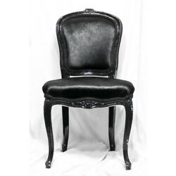 Set Of 2 Jayson Home Antique Black Lacquer Reupholstered Chairs