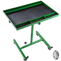 Rolling Tool Table Tear Down Tray 220lb Adjustable Height For Holding In Green