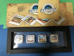 Tuvalu 2013 1 World Famous Squares 4x1 Oz Silver Proof Coin Set