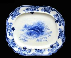 Flow Blue Turkey By Cauldon 25 Platter C. 1905 - The Mother Of All Platters