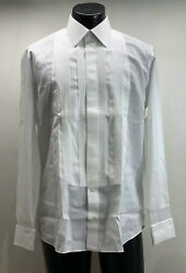 Fray Cotton White Tuxedo Shirt Menandrsquos 16 Made In Italy Mother Of Pearl Buttons