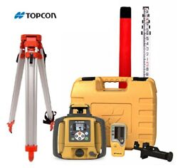Topcon Rl-sv2s Dual Slope Rechargeable Rotary Laser Level Tripod 16and039 Rod Inch