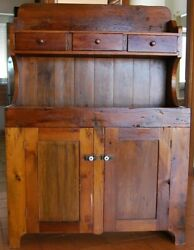 Primitive Early American 19th Century Pine Step Back Cupboard