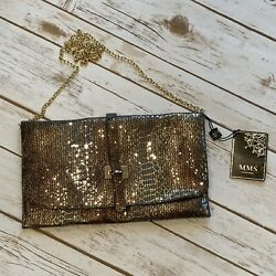 MMS Design Studios Sparkly Crossbody Clutch Evening Bag Gold Chain Strap $35.00