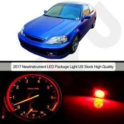 Cluster Gauge Red Bulbs + Cliamte Control LED Kit for Honda Civic 1996-2000 AT