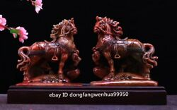 Old Shoushan Stone Handcarved Fengshui Animal Battle Steed Horse Figurine Pair