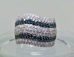 9ct White Gold Hallmarked 2.7ct Natural Real White And Blue Diamonds Inwave Effect