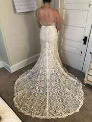 Wedding Dress Made with Love Harlie Size 14 Bone New dress sheath v-neck lace