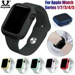 Soft Silicone TPU Bumper Case Cover Frame For Apple Watch Series 5 4 3 2 38 44mm