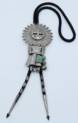 Jerry Roan Native American Navajo Sterling And Turquoise Kachina Huge Bolo Tie
