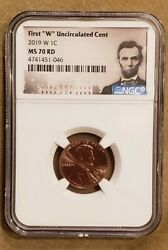 2019-w 1c First W Uncirculated Penny Cent Ngc Ms 70 Rd Lincoln Label Free Ship