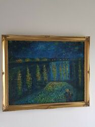 Vincent Van Gogh Starry Night 2 Oil Painting Superb Reproduction In Gilt Frame
