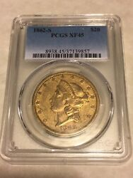1862-s 20 Pcgs Xf45 Liberty Double Eagle Gold Coin Type 1 Civil War