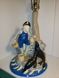 Apsit Bros Of Calif 1980and039s Vintage Table Lamp Antique Fisherman Feeding Seals.