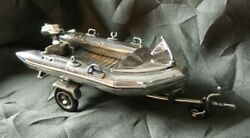 Incredible Vintage Sterling Silver Italian Sacchetti Boat And Trailer