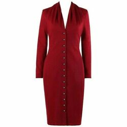 Givenchy Couture A/w 1998 Alexander Mcqueen Ruby Red Wool Button Front Dress