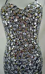 Claudine Black Large Rhinestone Evening Event Formal Mermaid Gown 2 pc Size 8 $145.00