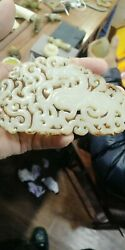 Antique Chinese Nephrite Celadon-hetian-old White Jade Flows Pendant/statues