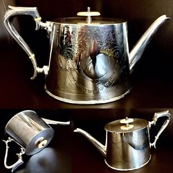 Large Ornate Vintage / Antique English Lee And Wigfull Silver Plated Teapot 800g