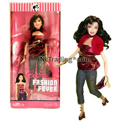 Year 2007 Barbie Fashion Fever 12 Doll - Raquelle In Red Fur Sleeve Velvet Tops