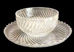 Large Baccarat Depose Cut Glass Centerpiece Punch Bowl With Underplate, Rippled