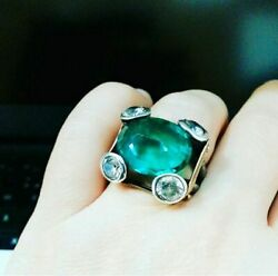 925 Sterling Silver Handmade Authentic Turkish Emerald Ladies Rings Size 6-7-8-9