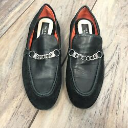 Rag And Bone Women Black Loafer Letter Suede Metal Chain Italy Made Sz 39.5