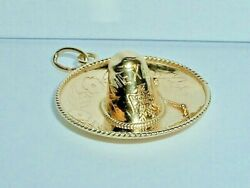 Vintage 14k Yellow Gold 3d Large Mexican Sombrero Hat Mexico Pendant Charm