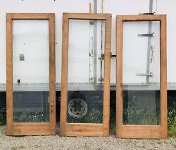Large Rustic Pinewood And Glass Double Doors Raw Unfinished 3 Doors Total