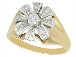 Vintage 1950and039s 0.41 Ct Diamond 14k Yellow Gold Cluster Ring - Size 8 5/8