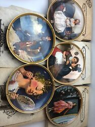 Lot Of 5 Vintage Edwin M.knowles Norman Rockwell Collector Plates