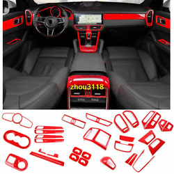 33pcs Abs Red Car Interior Kit Cover Trim For Porsche Cayenne 2019-2020
