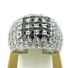 1.00 Ct Tw Diamonds Black And White Round Cut 14k White Gold Width Band Ring 5.75