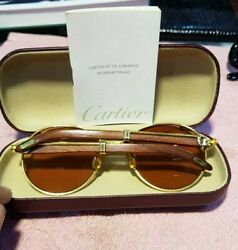 Cartier Wood Sunglass Auteuil Gold Plated Vintage Ultra Rare 1351855 LIMITED