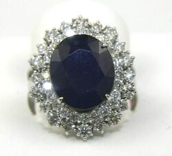 Oval Blue Sapphire And Diamond Halo Solitaire Ring 14k White Gold 8.62ct