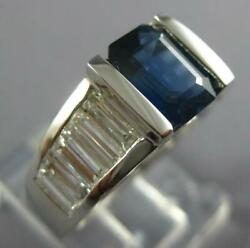 Wide 3.45ct Diamond And Sapphire 14kt White Gold Emerald Cut Engagement Ring 26978