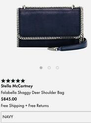 New Stella Mccartney Designer Vegan Leather Bag Falabella Navy Blue $920 Italy