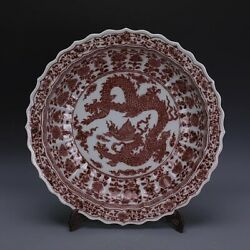 Old Chinese Ming Xuande Underglaze Red Porcelain Painting Dragon Plate 18.8