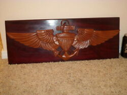 [us Navy] U.s. Naval Aviator Wings Logo, Solid Wooden Wall Plaque Sign, 1960's