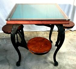 Victorian Cast Iron Ice Cream Parlor Table With 4 Swing Out Seats.