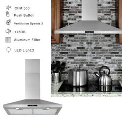 30 Wall Mount Range Hood Stainless Steel Top Vent Filter Touch Control 500 Cfm