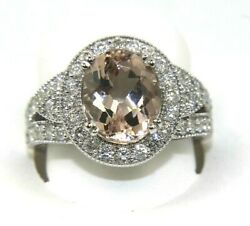 Oval Morganite And Diamond Halo Solitaire Bridge Ladyand039s Ring 14k White Gold 5.06ct