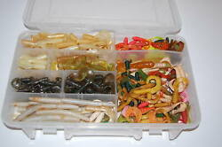Plano Storage Tray Full Of Jigs And Curly Tail Grubs Worms Diff Sizes Colors