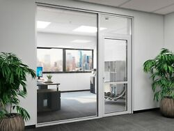Cgp Office Partition System, Glass Aluminum Wall 11' X 9' W/ Door Clear Anodized