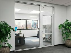 Cgp Office Partition System, Glass Aluminum Wall 15' X 9' W/ Door Clear Anodized