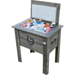 54 Quart Barn Wood Board Beverage Cooler 50 Can Ice Chest W/ Drain Bottle Opener