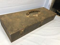 Antique Snap-on Metal Tool Box Genuine Leather Handle E2