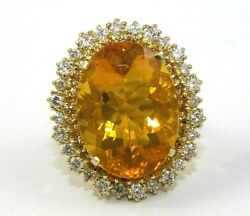 Oval Mexican Fire Opal And Diamond Halo Lady's Ring 14k Yellow Gold 13.75ct