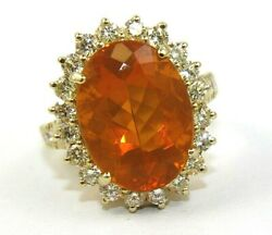 Natural Oval Mexican Fire Opal And Diamond Halo Ladyand039s Ring 14k Yellow Gold 7.95ct